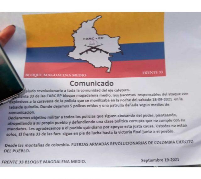 Las versiones sobre los panfletos de las Farc que aparecieron en La Tebaida - Noticias de Colombia